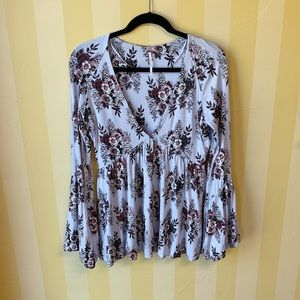 Free People Speak Easy Bell Sleeve Blouse M